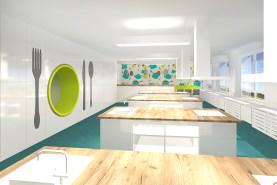 Cvičná kuchyňka s ostrůvky